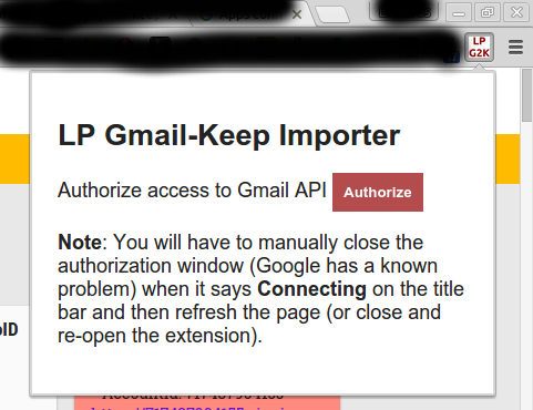 LP Gmail to Keep Importer - Authorization view